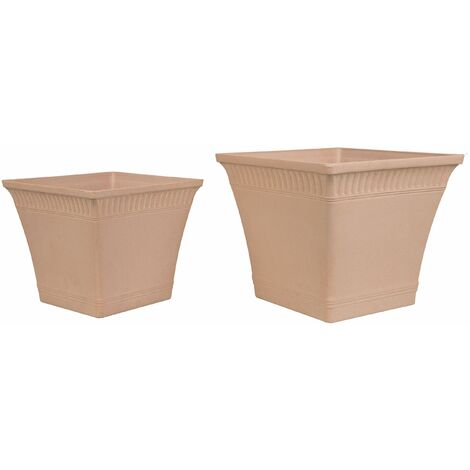 Set of 2 Plant Pots Light Red PSATHA