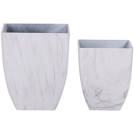 Set of 2 Plant Pots Marble Effect MIRO