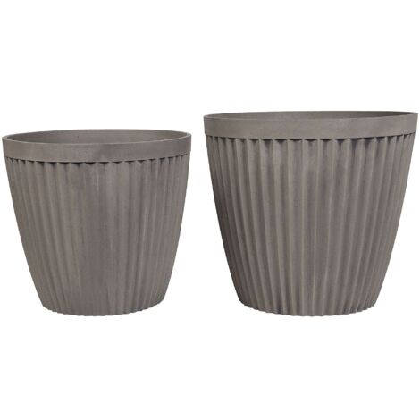 Set of 2 Plant Pots Taupe POKA