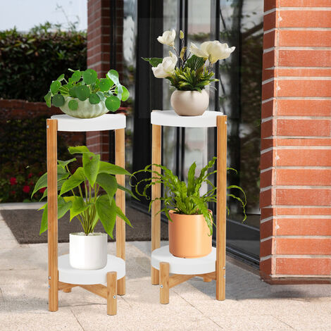 """main image of """"Set of 2 Plant Stand Flower Pot Holder Plastic - Indoor Bamboo Mid Century Modern Plant Holder Display Rack for House Plants, Home Decor"""""""