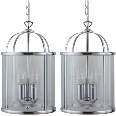 Set of 2 Polished Chrome Lantern Pendants
