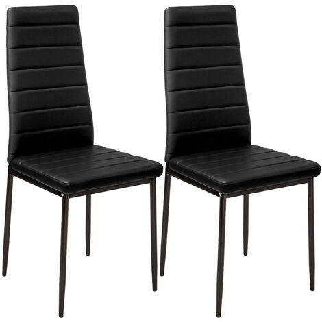 """main image of """"Set of 2 PU Leather Padded Seat Metal Legs Dining Chair"""""""