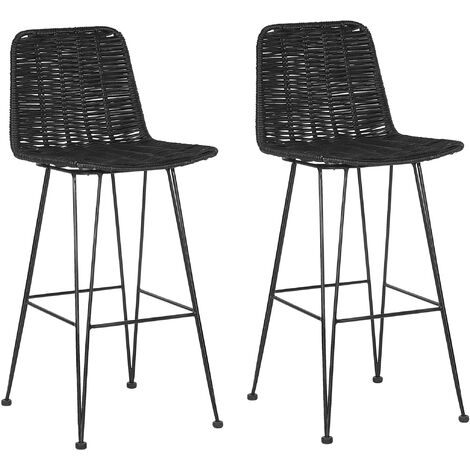 Set of 2 Rattan Bar Chairs Black CASSITA