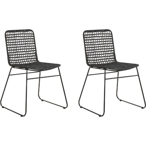 Set of 2 Rattan Dining Chairs Black BERITO