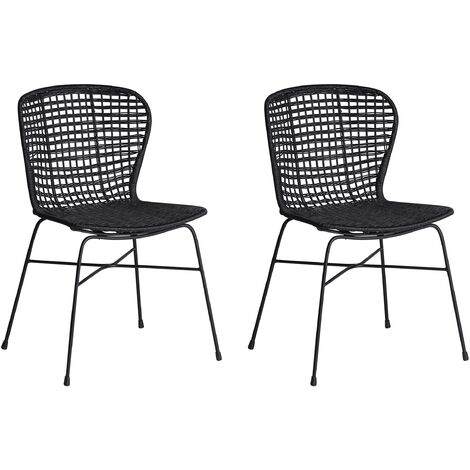 Set of 2 Rattan Dining Chairs Black ELFROS