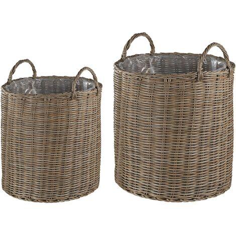 Set of 2 Rattan Plant Baskets Beige BITOLA