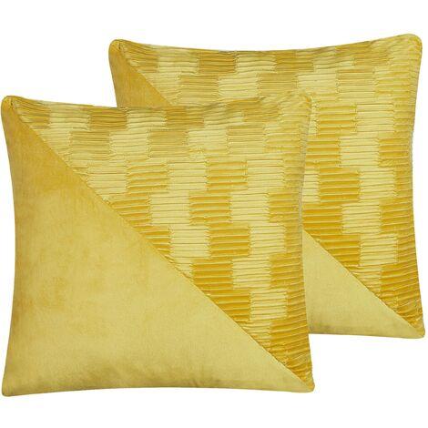 Set of 2 Retro Decorative Throw Cushion Velvet Square 45x45 cm Yellow Origanum