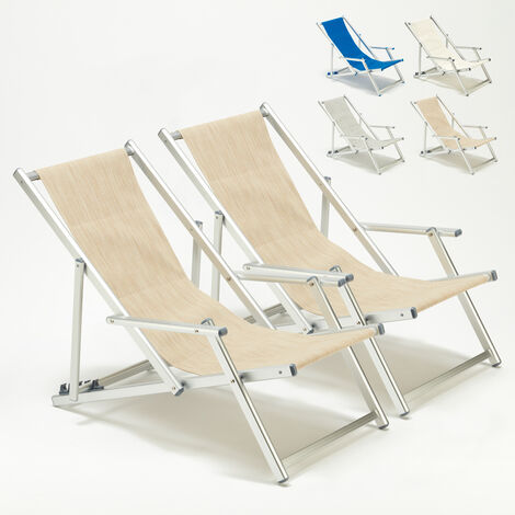 Set of 2 RICCIONE LUX Beach Deck Chairs With Armrests | Cream
