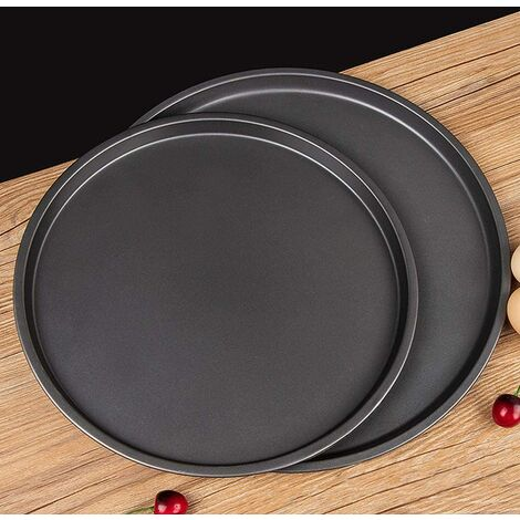 """main image of """"Set of 2 round pizza baking plates, anti-adhesive, for pizza oven, grill and kitchen accessories - 20 cm, 25 cm, black"""""""