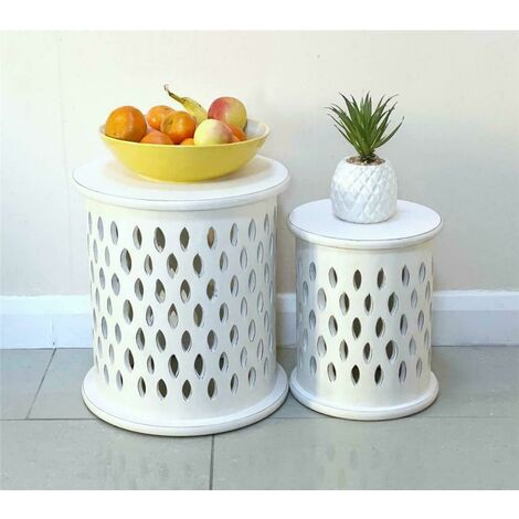 Set Of 2 Round White Hand Carved Indian Wooden Pillar Side Coffee Table Stool