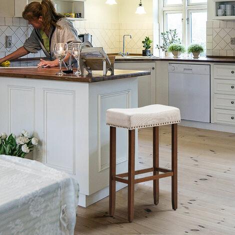 """main image of """"Set of 2 Saddle Bar Stools Backless Counter Stool W/ Upholstered Sponge Cushion"""""""