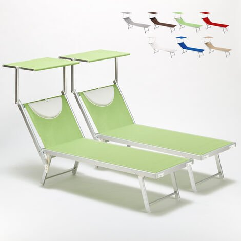 Set of 2 SANTORINI Folding Sun Loungers With Headrest And Adjustable Backrest