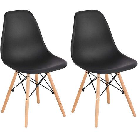Set of 2 Scandinavian Design Black Dining Chair 41 x 46 x 82 cm