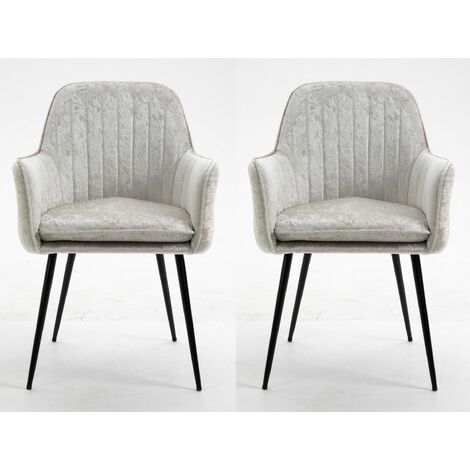Set of 2 Scandinavian Modern Light Grey Crushed Velvet Fabric Chairs with Metal Legs for Home Office Counter Lounge Leisure Living Room Corner Reception with Armrest, Backrest and Padded Seat