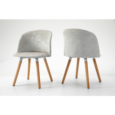 Set of 2 Scandinavian Modern Light Grey Crushed Velvet Fabric Chairs with Wooden Legs for Home Office Counter Lounge Leisure Living Room Corner Reception with Backrest and Padded Seat