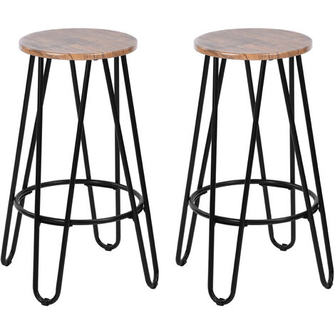 Set of 2 Scandinavian Wooden Barstool Bar Chairs Counter Stools Paulownia With Round Seat