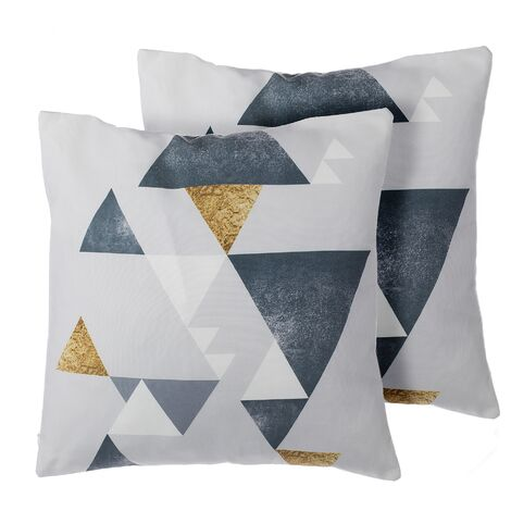 Set of 2 Scatter Cushions Polyester Multicolour Triangle Pattern 45 x 45 cm Vinca