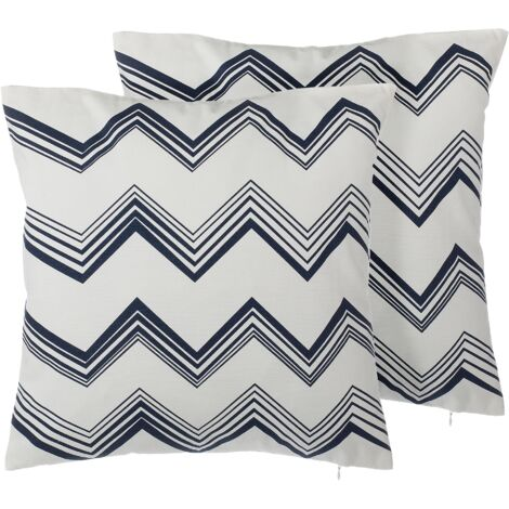 """main image of """"Set of 2 Scatter Pillows White and Blue Chevron Pattern Geometric 45 x 45 cm Nerine"""""""