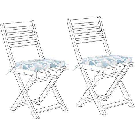 Set of 2 Seat Cushions Blue Triangles FIJI