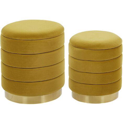 Set of 2 Storage Living Room Pouffes Velvet Fabric Upholstery Yellow Garland