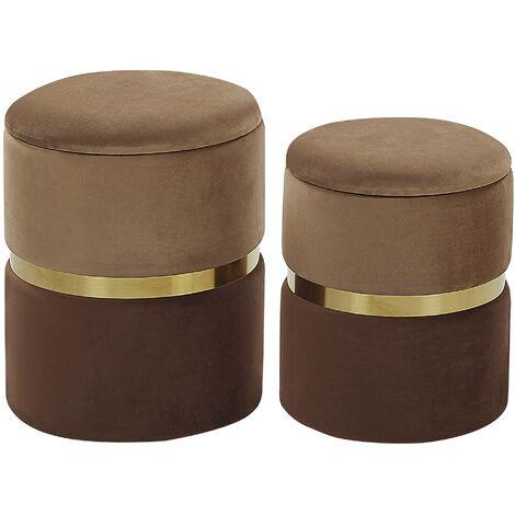 Set of 2 Storage Pouffes Brown WICHITA