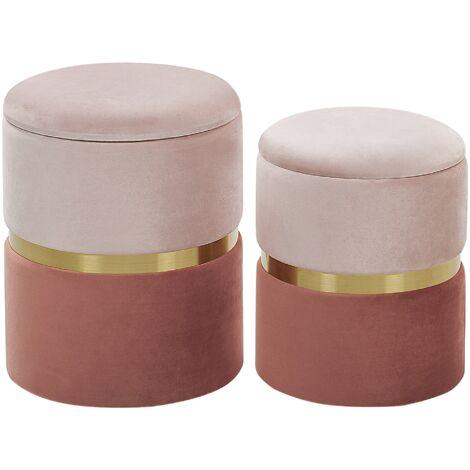 Set of 2 Storage Pouffes Pink WICHITA