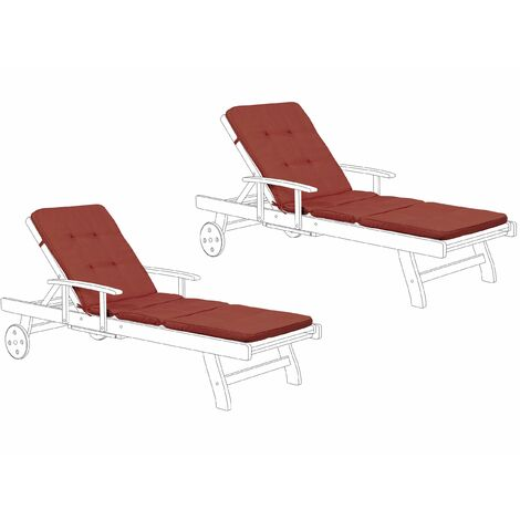 Set of 2 Sun Lounger Pad Cushion Red TOSCANA/JAVA II