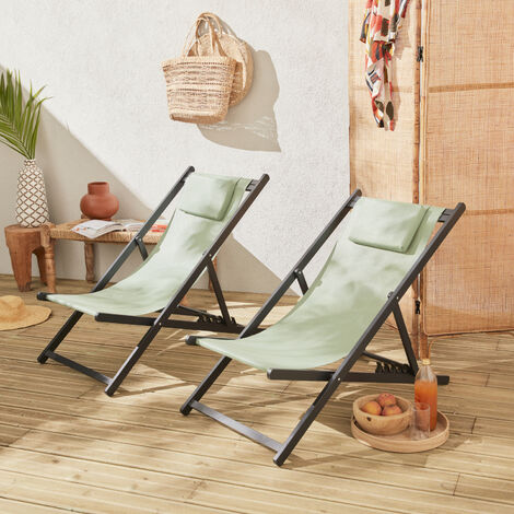 Set of 2 sun loungers - adjustable deck chairs with headrests made from an anthracite grey aluminium frame and grey textilene