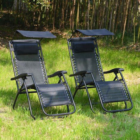 Set of 2 Sun loungers Garden Outdoor Reclining Chairs Zero Gravity Patio Chair With Canopy Black