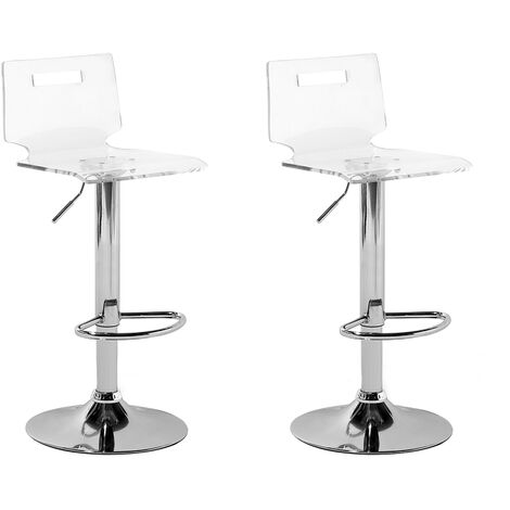 Set of 2 Swivel Bar Stools Transparent MALTA