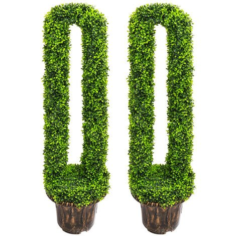 Set of 2 U-Shape Topiary Trees Potted Artificial Plant Tree With Pot, 90CM
