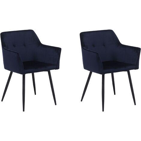 Set of 2 Velvet Dining Chair Retro Metal Legs Living Room Dark Blue Jasmin