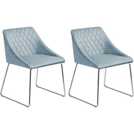 """main image of """"Set of 2 Velvet Dining Chair Retro Metal Sled Base Living Room Light Blue Arcata"""""""