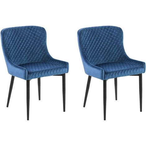 Set of 2 Velvet Dining Chairs Blue SOLANO