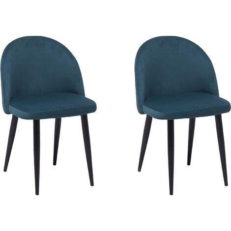 Set of 2 Velvet Dining Chairs Blue VISALIA