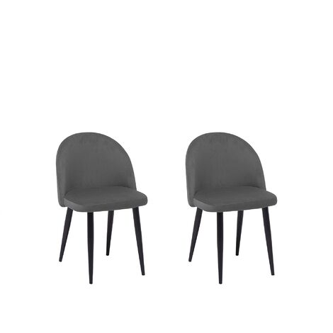 Set of 2 Velvet Dining Chairs Grey VISALIA