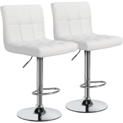 Set of 2 White Kitchen Home Adjustable Bar Stools with Back Swivel Chair