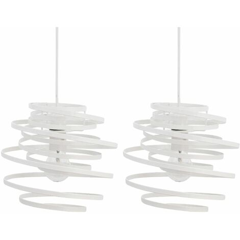 Set of 2 White Metal Swirl Easy Fit Light Shades