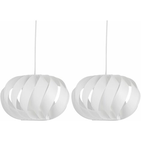 Set of 2 White Swirl Easy Fit Light Shades