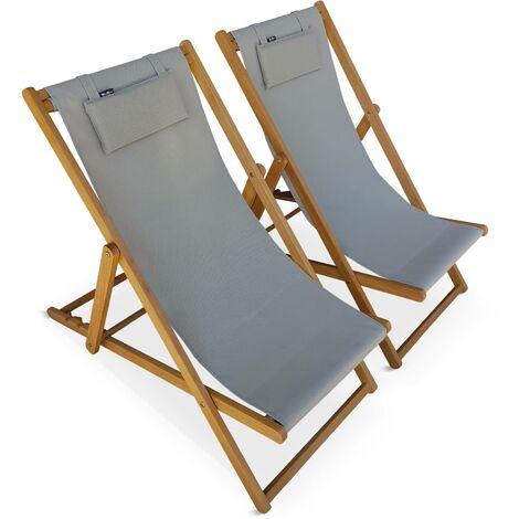 Set of 2 wooden deck chairs - Creus