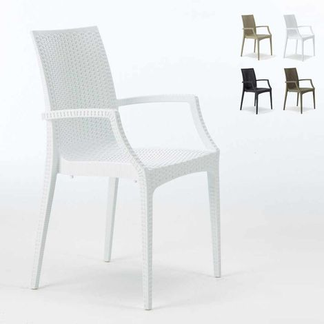 Set of 20 BISTROT ARM Garden Stackable Poly Rattan Armchair By Grand Soleil