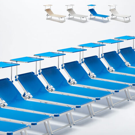Set Of 20 NETTUNO Aluminium Sun Loungers With Sunshade For Garden Patio Pool