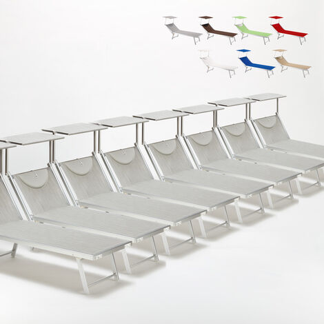 Set of 20 SANTORINI Folding Sun Loungers With Headrest And Adjustable Backrest