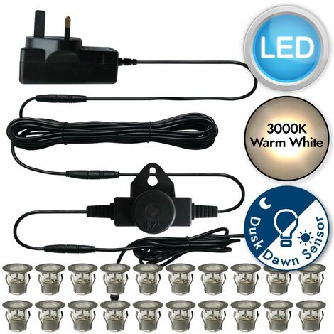 Set of 20 - Stainless Steel IP67 LED Decking Kit with Dusk til Dawn Photocell Sensor