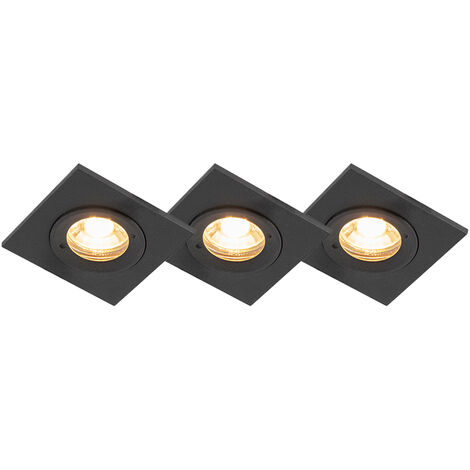 Set of 3 bathroom downlights black IP44 - Xena Square