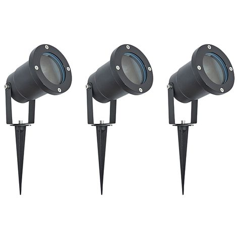 Set of 3 Biard Garden Path Lawn Outdoor Ground Adjustable Spike Spot Light IP44