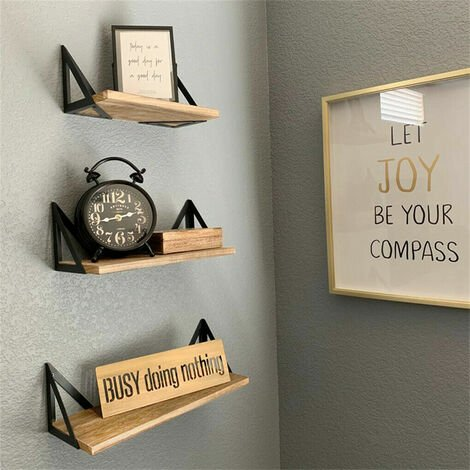"main image of ""Set of 3 Corner Wall Shelves Industrial Style Metal Wood Shelving Shelf Storage"""
