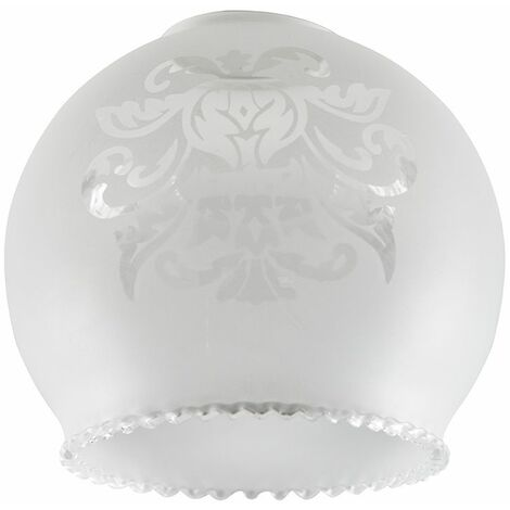 Set Of 3 Decoratively Etched Pattern Frosted White Glass Replacement Shades