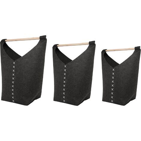 Set of 3 Felt Baskets Dark Grey KESTEL
