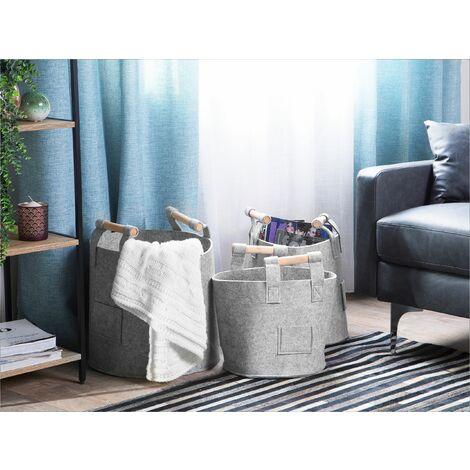 Set of 3 Felt Baskets Grey DEVRE